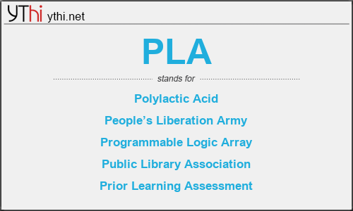 What does PLA mean? What is the full form of PLA?